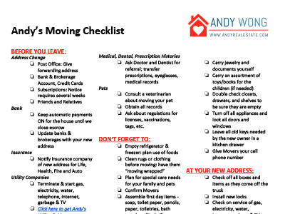 Andy's Moving Checklist